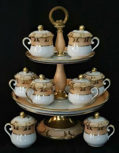 """8 pot de creme dessert CUPS & STAND 2-tier, Vieux Old Paris Porcelain, c1850 13"""""""