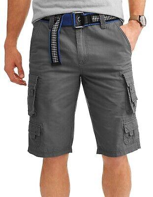 Cargo Short Pants Belted Slate Gray Ripstop 100% Cotton Lazer Co Mens Size 30-40