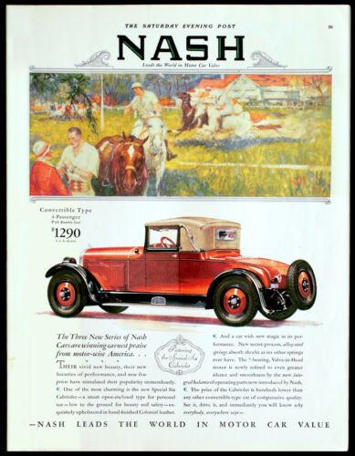 1927 NASH Cabriolet Convertible w/Rumble Seat Antique Car Auto Vtg Print AD