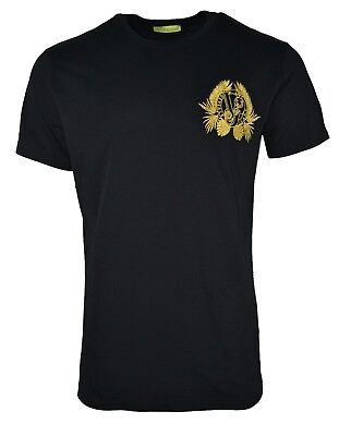 VERSACE JEANS GOLD BLACK EMBROIDERED LEAF VJ TIGER CHEST LOGO T-SHIRT