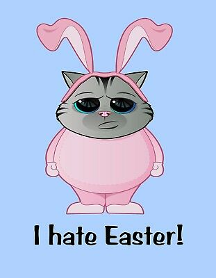 METAL MAGNET Cat In Bunny Costume I Hate Easter Rabbit Cats Rabbits Humor (Cat In Rabbit Costume)