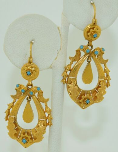 Victorian 15K & Turquoise Fabulous Dangle Drop Earrings