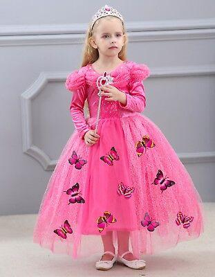 Kid Girl Princess Halloween Cosplay Dress Xmas Sleeping Beauty Aurora Costume