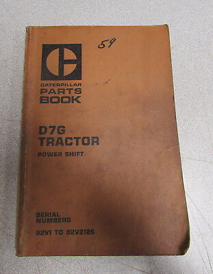Caterpillar Cat D7g Tractor Parts Catalog Manual 92v1 92v2126 1977