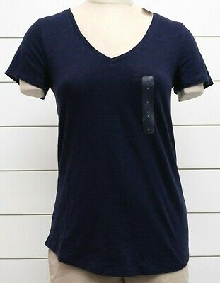 NWT Womens GAP Short Sleeve Easy V-Neck T-Shirt 100% Cotton Navy Uniform -883826