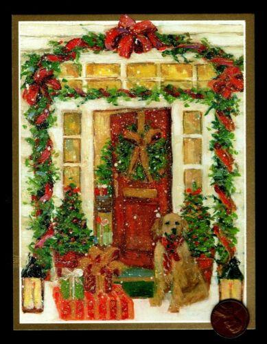 CASPARI VINTAGE Golden Retriever Bow Porch - GOLD SHINE Christmas Greeting Card