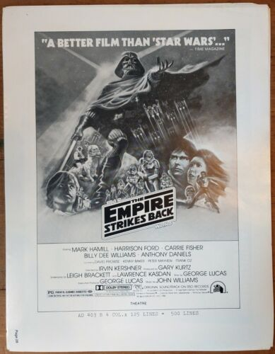 STAR WARS, The Empire Strikes Back, 1980, Pressbook posters 581