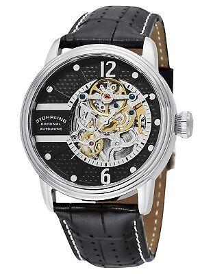 Stuhrling Prospero Classic Men's 44mm Automatic Black Calfskin Watch 308A.33151