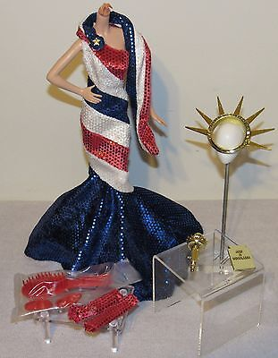 FAO Statue of Liberty Barbie Fashion Outfit Red, White & Blue Dress Accessories (Statue Of Liberty Dress)