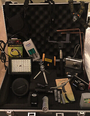 Paranormal Ghost Hunting Equipment Kit Case Emf Ir Lights Cameras Batteries Evp