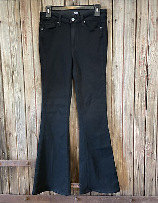 Paige High Rise Bell Canyon Flare Leg Jeans Black Size 27