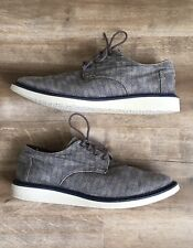 toms size 11 mens casual dress shoes gray canvass navy