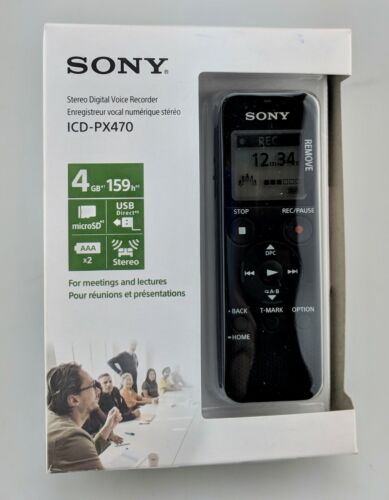 Sony ICDPX470 4GB Digital Voice Recorder In Box Good Shape