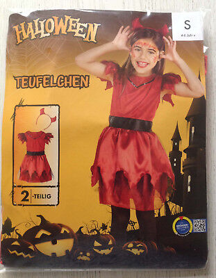 TEUFELCHEN Mädchen TEUFEL Kostüm HALLOWEEN Fasching Kleid S/104/110/116 4-6J OVP