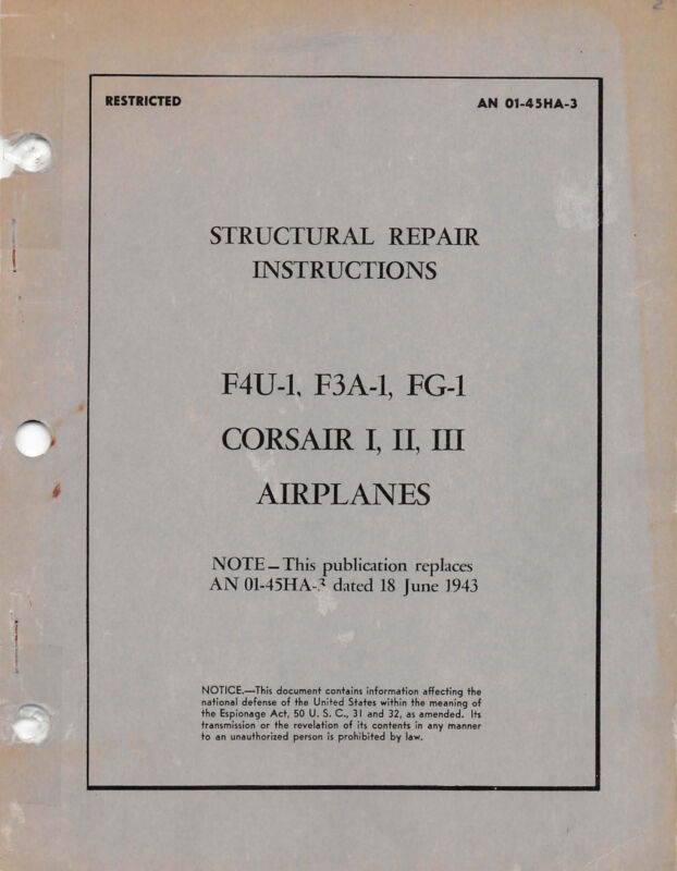 F4U-1, F3A, FG-1 Structural Repair Instructions World War II Bk Flight Manual-CD