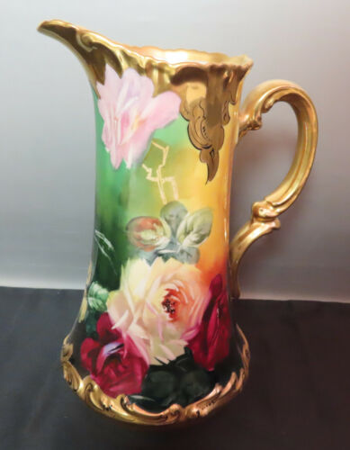 ANTIQUE LIMOGES, FRANCE HAND PAINTED PITCHER,  SIGNED ca 1900s