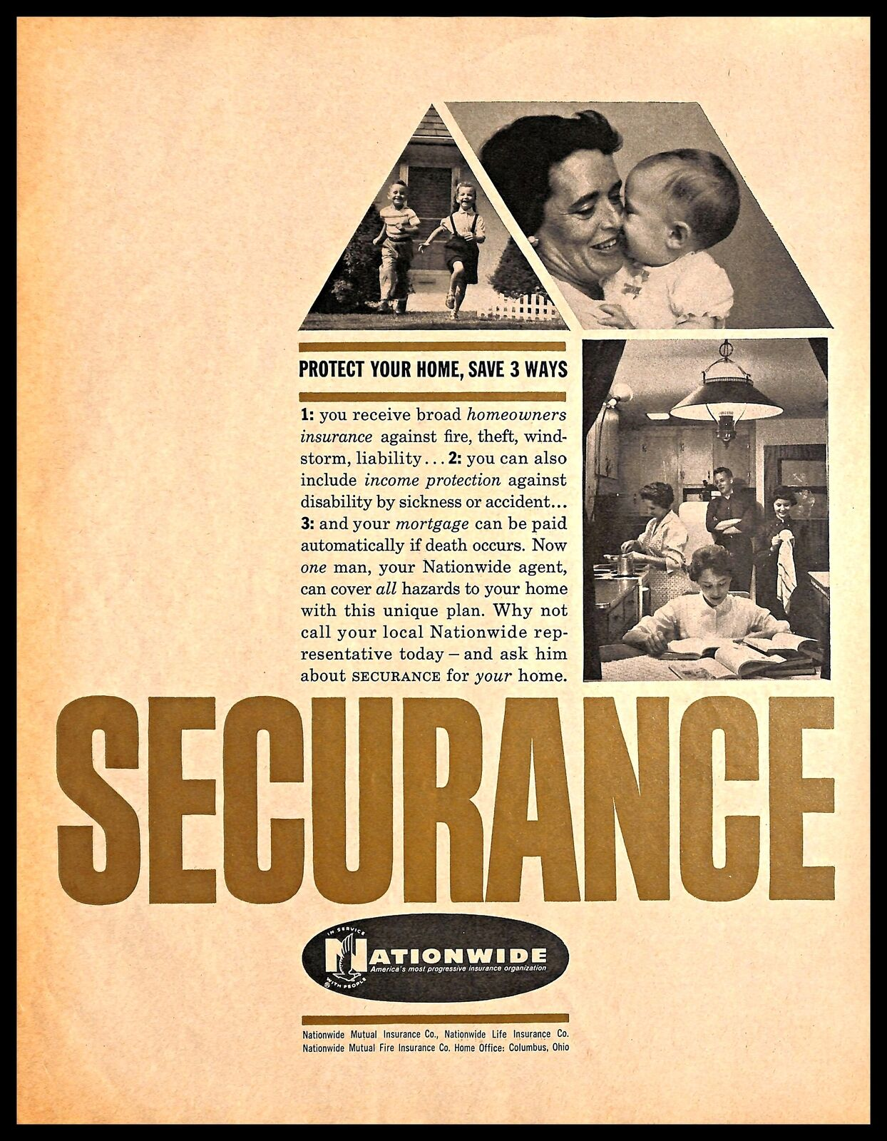Nationwide Homeowners Insurance >> Details About 1960 Nationwide Insurance Company Vintage Print Ad Life Income House Security