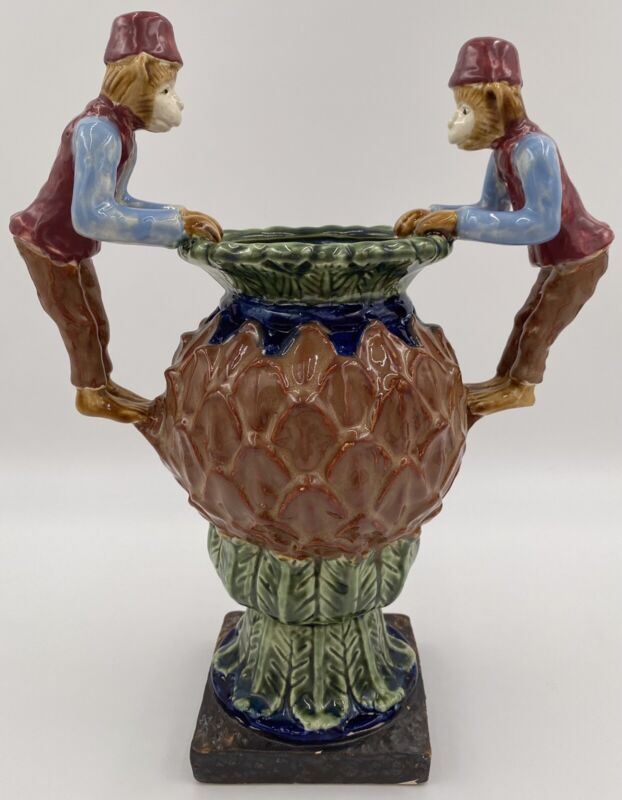 Vintage Large Lucky Monkey Double-Handled Vase Hand Painted Ceramic Chinoiserie