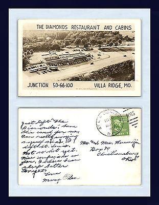 MISSOURI ROUTE 66 VILLA RIDGE REAL PHOTO 13 AUG 1951 TO CHRISTIANSBURG, OHIO