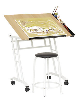 Drafting Table Drawing Desk Mobile Adjustable Angle For Artist Architect Craft