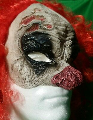 Dead Clown Zombie Red Hair Scars/Scabs Half Rubber Mask Halloween Spirit Scary!