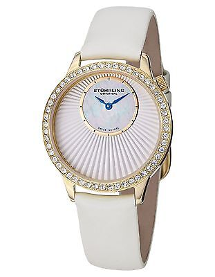 NEW Stuhrling 336.123P2 Womens Vogue Audrey Radiant Crystal MOP Gold/White Watch