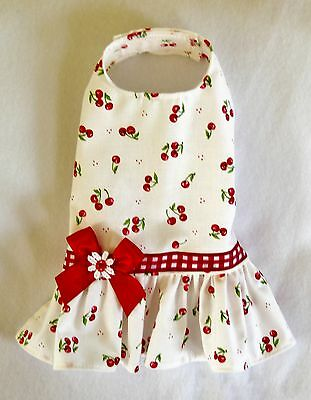 M New Bright Red Cherries Dog dress clothes pet apparel Medium on Rummage