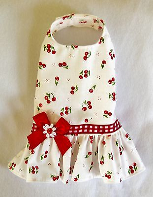S New Bright Red Cherries Dog dress clothes pet apparel Small on Rummage