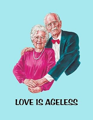 METAL REFRIGERATOR MAGNET Old Man Woman Love Is Ageless Family Friend for sale  Shipping to India