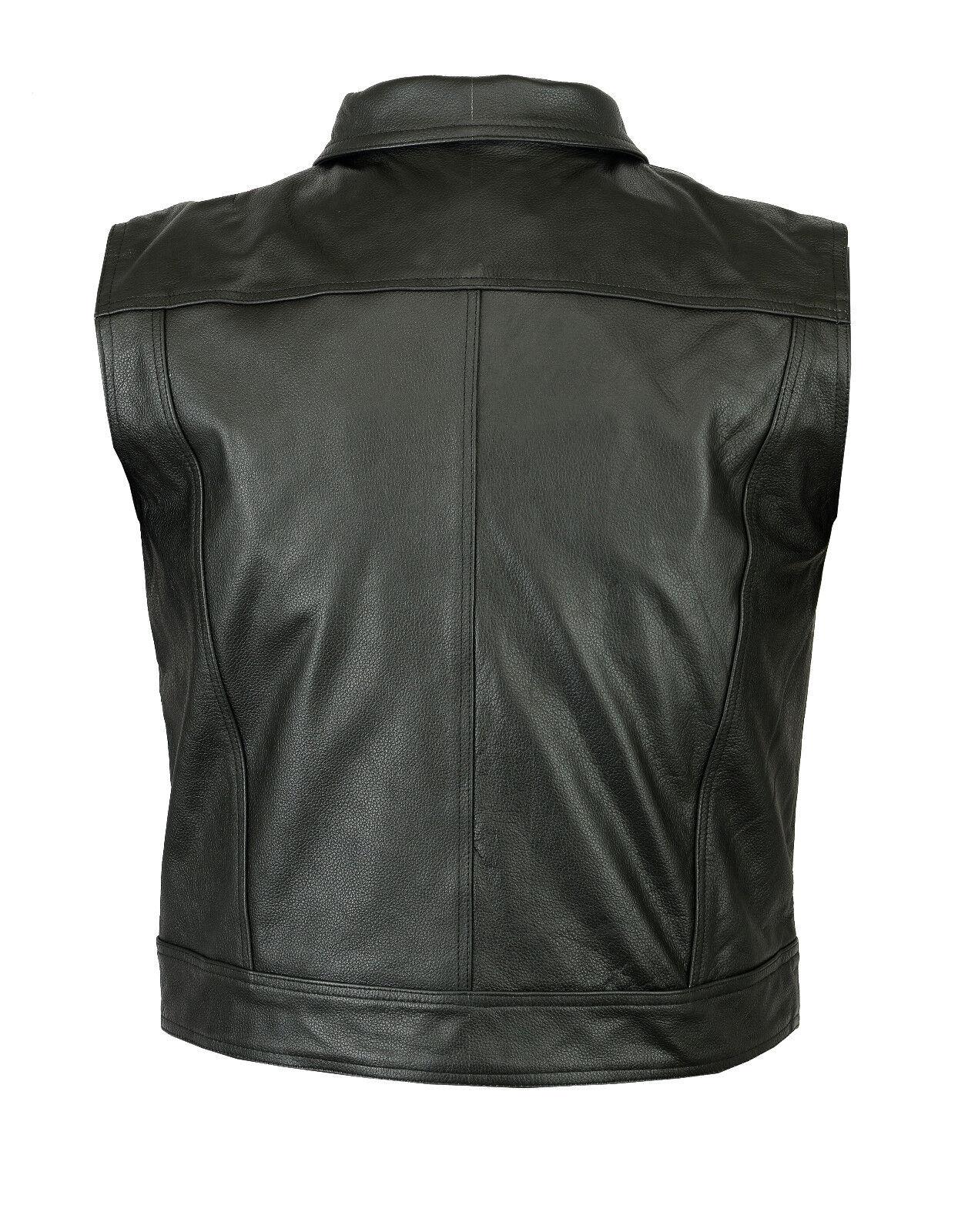 veste gilet cuir peau de vache homme moto wasik d contract neuf eur 52 86 picclick fr. Black Bedroom Furniture Sets. Home Design Ideas