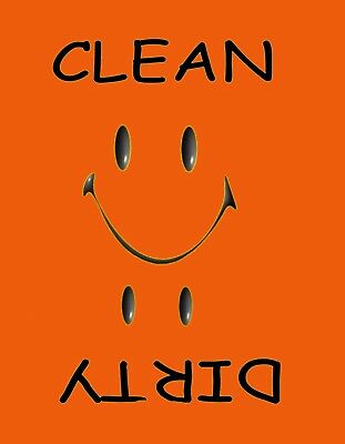 METAL DISHWASHER MAGNET Image Of Orange Smiley Face Clean Dirty Dishes MAGNET