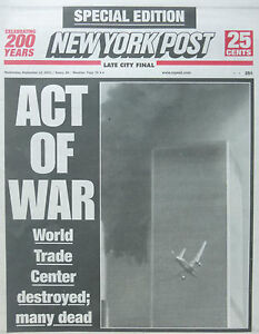 9 11 NEWS SEPTEMBER 12 2001 - NEW YORK POST - WORLD TRADE CENTER - PENTAGON