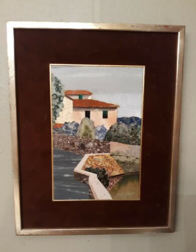 VINTAGE FRAMED TACCONI MARCO PIETRA DURA PLAQUE ARTWORK
