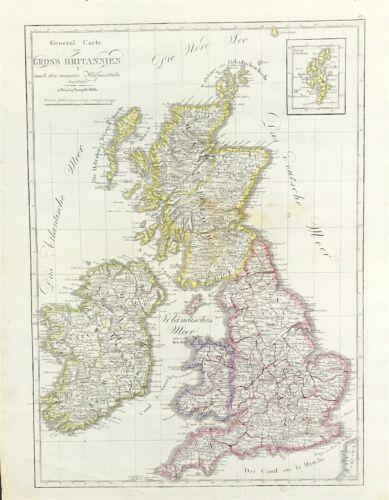 "c1807 Map British Isles Great Britain ""Gross Britannien"" by Mollo original"