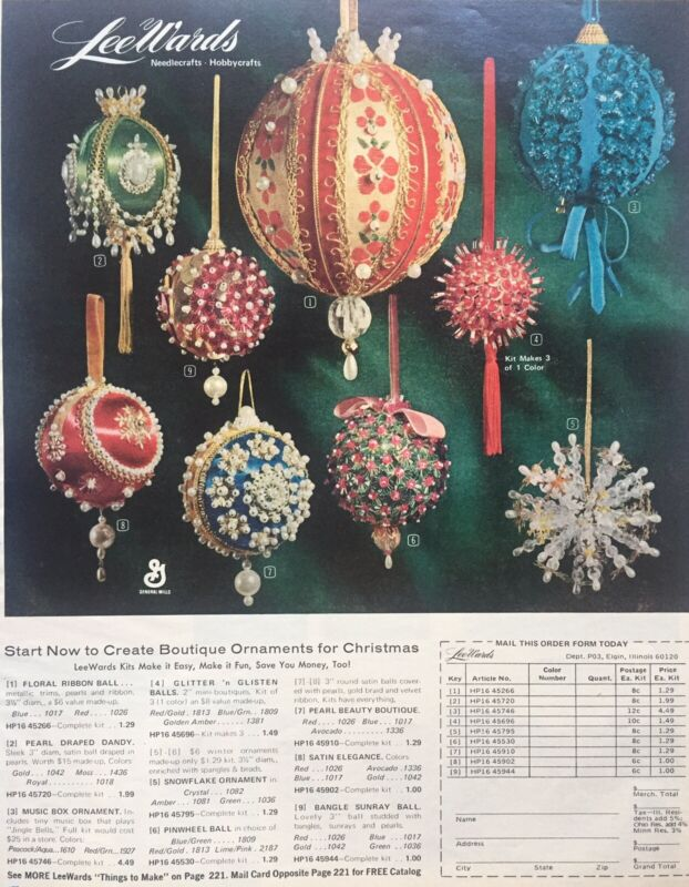 1971 Lee Wards Christmas Ornament Kits Print Ad Vintage Orig Tabloid Size VGC