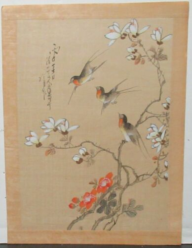 JAPANESE ORANGE BELLY BIRDS ON BLOSSOMS ORIGINAL WATERCOLOR PAINTING SIGNED