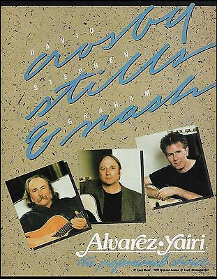 David Crosby Stephen Stills Graham Nash 1988 Alvarez Yairi guitars 8 x 11 ad