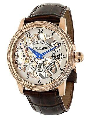 Stuhrling Men's 228 Skeleton 16k rose gold  Hand Wind Brown Leather Dress Watch