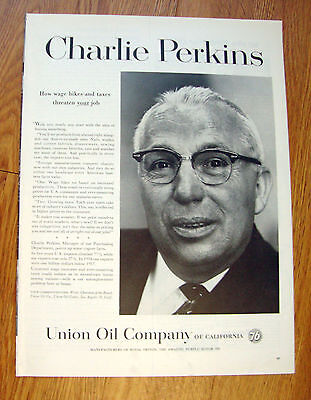 1958 Union Oil 76 Ad Charlie Perkins