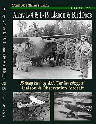 Army-Birddog WW2 Film L-4 L-5 L-19 Piper Cessna Grasshoopers -Free Shipping too