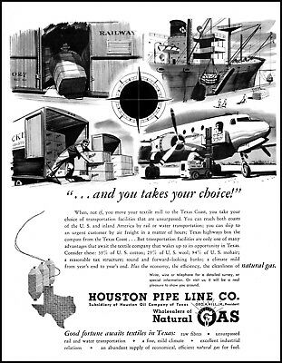 1949 Airplane Ship truck Houston Pipe Line Gas vintage art Print Ad   ADL15 (Airplane Ship)