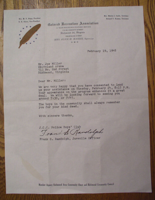 "Richmond Virginia 1948 ""Colored Recreation Association"" ~ Signed Letter"