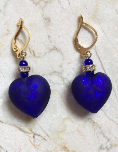 Translucent Cobalt Blue Murano Glass Heart Earrings