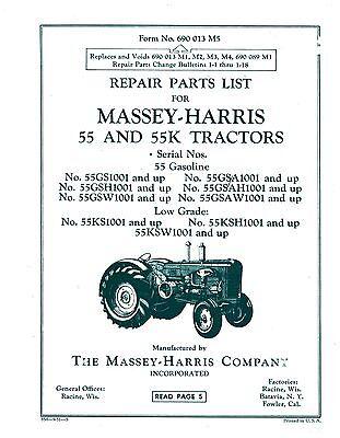 Massey Harris 55 55k Tractor Parts List Book Manual