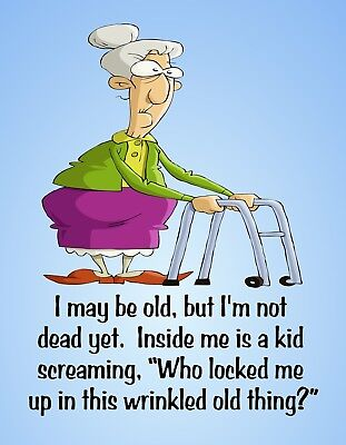METAL REFRIGERATOR MAGNET Old Not Dead Wrinkled Thing Family Friend Humor for sale  Shipping to India
