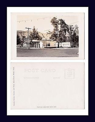 UTAH MOAB AUTO COURT AND STANDARD OIL GASOLINE STATION REAL PHOTO CIRCA 1948