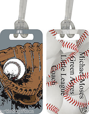 Personalized Heavy Duty Baseball Theme Sport/Luggage/I.D Tag Printed On 2 Sides](Baseball Theme)