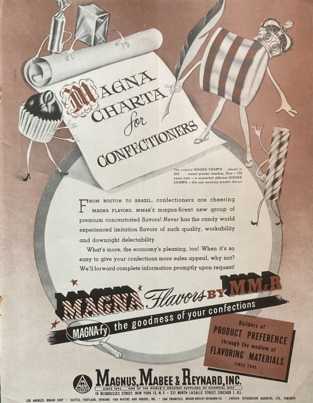 1948 AD(L13)~MAGNUS, MABEE & REYNARD, INC. NYC. MAGNA CONFECTIONERY FLAVORS