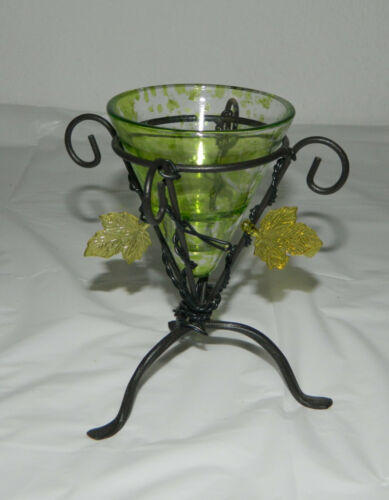 """Vintage Flashed Green Glass Cone Votive Candle Holder with Metal Stand 5"""" T"""