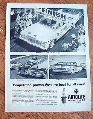 1960 Mobil Oil Gas MobilGas Economy Run Ad 1960 Plymouth Chevy & Ford